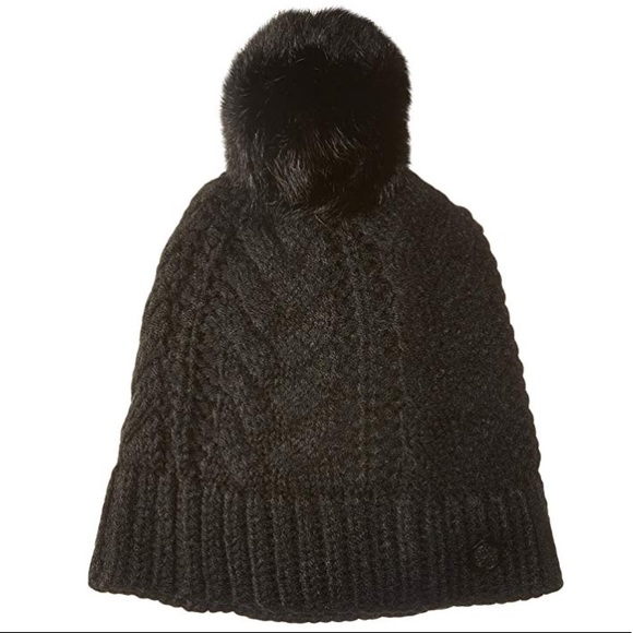 0c19dcf011086 vince camuto    charcoal cable knit pom beanie